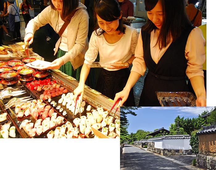 画像:唐戸市場と萩城下町